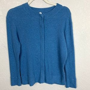 Margaret O'Leary Blue Ribbed Cotton Cardigan - L